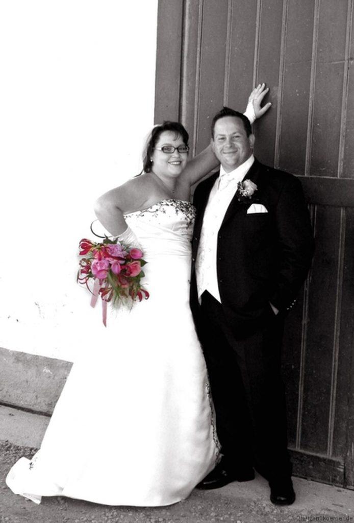 Sandra und Bäda an ihrem Hochzeitstag.